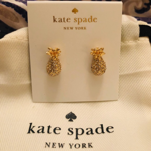NWT Kate Spade By The Pool Pave Pineapple Stud Earrings with Gift Bag WBRUF733